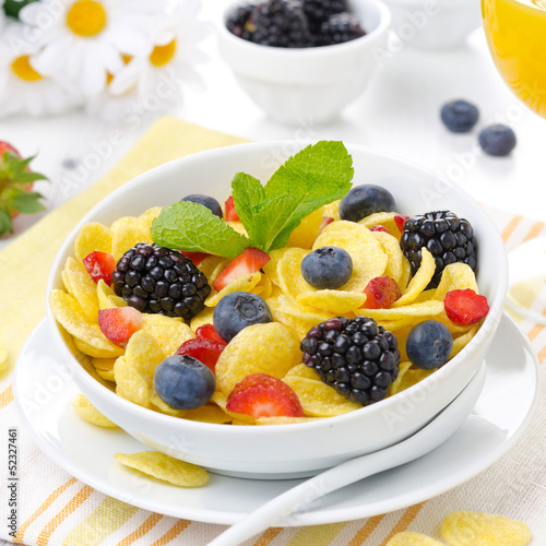 Cornflakes with fresh berries  for breakfast
