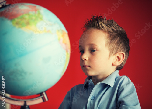 school boy world globe