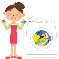 洗濯機をまわすママ