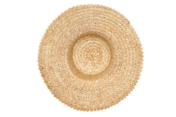 Straw hat isolated top view