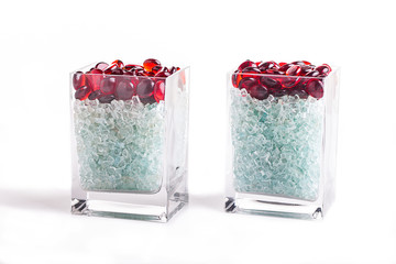 glass vase with glass pebbles
