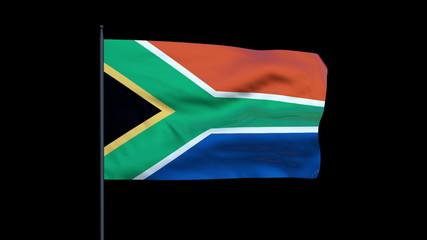 South Africa Flag Waving, Seamless Loop