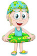 Girl child swim ring character cartoon style vector illustration