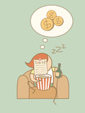 lazy man day dream rich cartoon character concept poster