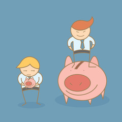 cartoon character of  rich and poor business men