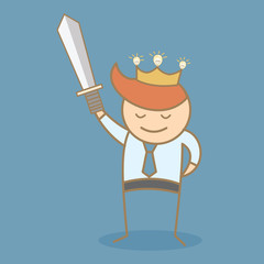 business man hold sword and crown win the idea