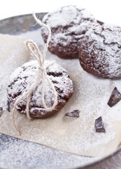 Chocolate snow cap cookies for Christmas