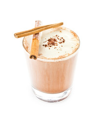 Iced blended frappe coffee on white background