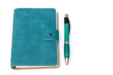 Leather cover of green notebook
