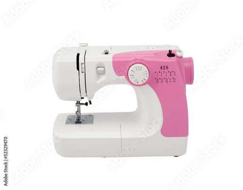 A cute sewing machine isolated on white background