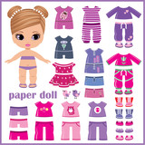 Fototapety Paper doll with clothes set