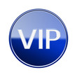 VIP icon glossy blue, isolated on white background