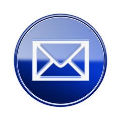 postal envelope icon glossy blue, isolated on white background