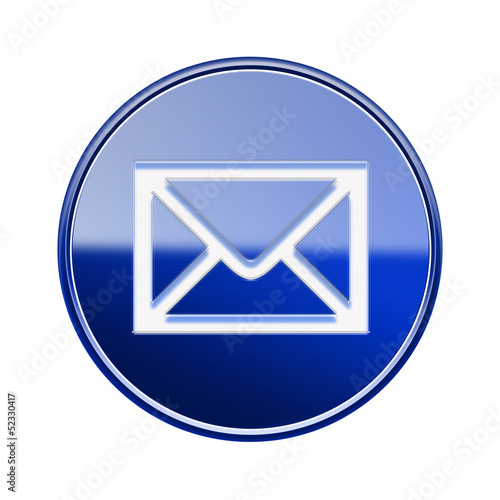 postal envelope icon glossy blue, isolated on white background