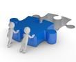 Teamwork blaues Puzzlestück