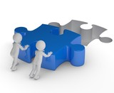 Fototapety Teamwork blaues Puzzlestück
