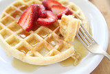 freshly-made waffle with strawberries