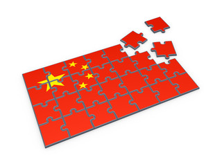 Chinese flag made of puzzles.