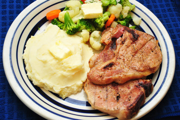 Pork Chop Dinner with Side Dishes
