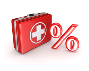 Symbol of percents on a medical suitcase.