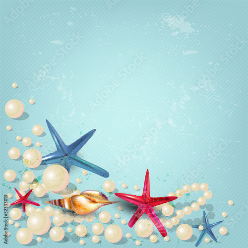 Vintage holiday banner with pearls and starfishes and place for