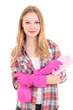 young attractive woman in pink rubber gloves with spray and rag