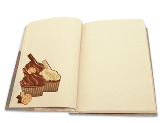 Recipe book ilustrated with cupcakes