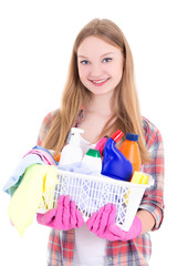 housewife with cleaning supplies isolated on white background