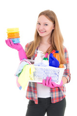 young housewife with cleaning supplies isolated on white backgro