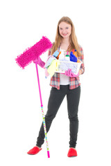 young housewife with mop and cleaning supplies isolated on white