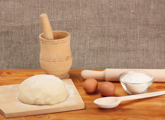 Bread cooking. Ingredients and dough