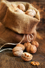 walnuts in a burlap bag