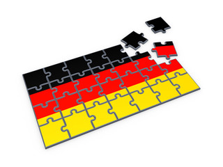 German flag made of puzzles.