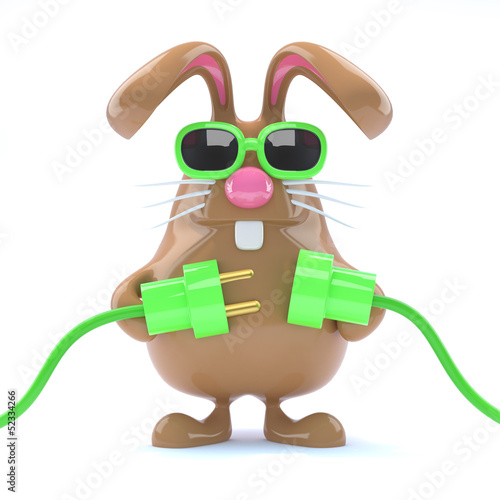 Chocolate bunny plugs in the green energy