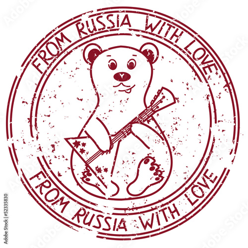 Stamp with bear playing on Russian balalaika