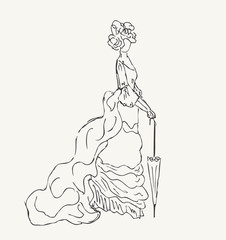 Sketch of woman in historical dress