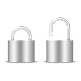 Padlock Icon. Open And Closed. Isolated On White. Vector Illustr