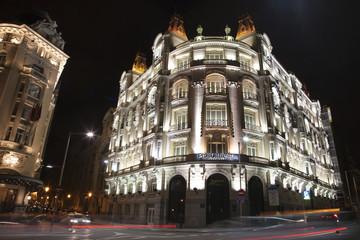 Madrid - Secession building form Cale de Alcala street ad night
