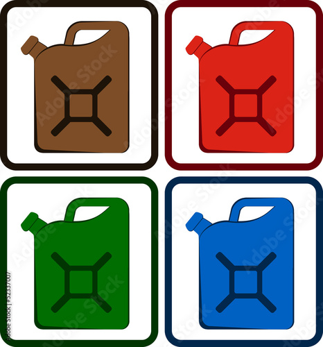 set colorful gasoline jerry can isolated