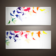 Vector Illustration of Two Banners with Colorful Birds