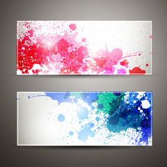 Vector Illustration of Two Banners with Blots