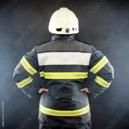 Back view of a fireman