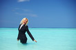 business woman in ocean