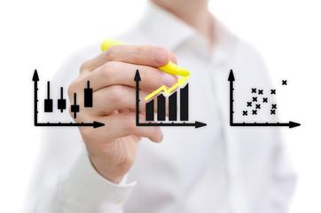 Man performing a market stock analysis