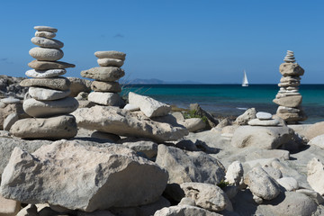 Pile of stones in beach