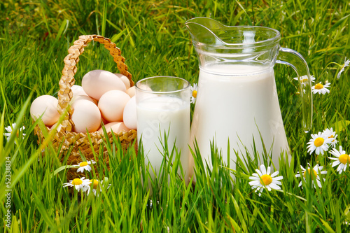 Milk jug, glass and eggs basket on the grass