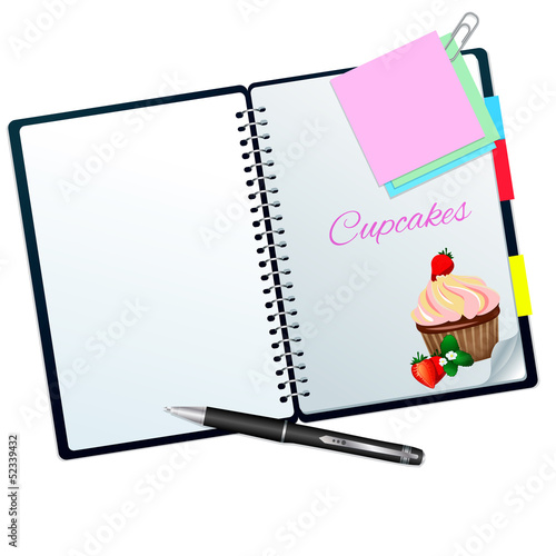 Recipe book ilustrated with strawberry cupcake