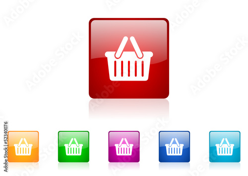 shopping cart vector glossy web icon set