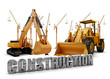 Construction background with bulldozer and loader
