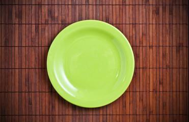 Empty green plate.